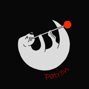 The Monterey GlassWorks Otter logo for Patron Sponsors.  It is similar to the standard Otter logo but with the wording Patron below the image of the glassblowing otter.