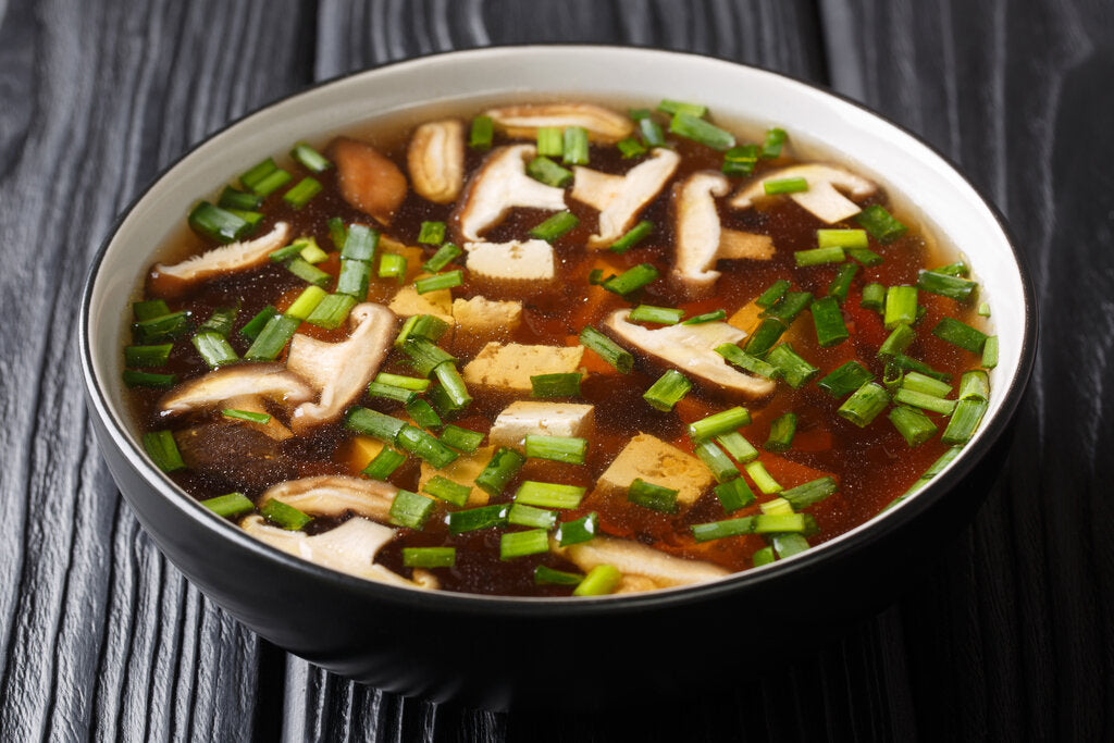 Shiitake Mushroom Soup With Tofu and Enoki