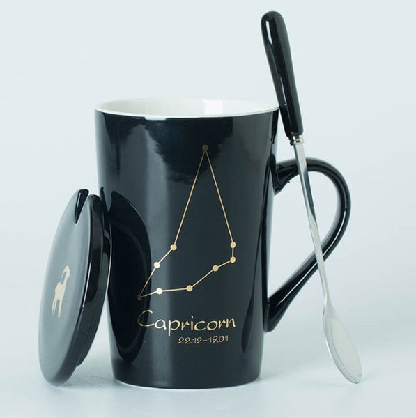 Ceramic Mugs 12 Constellations with Spoon and Lid.