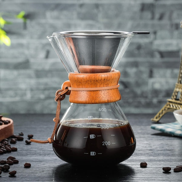 High-Temperature Resistant Glass Coffee Pot with stainless steel V60 filter