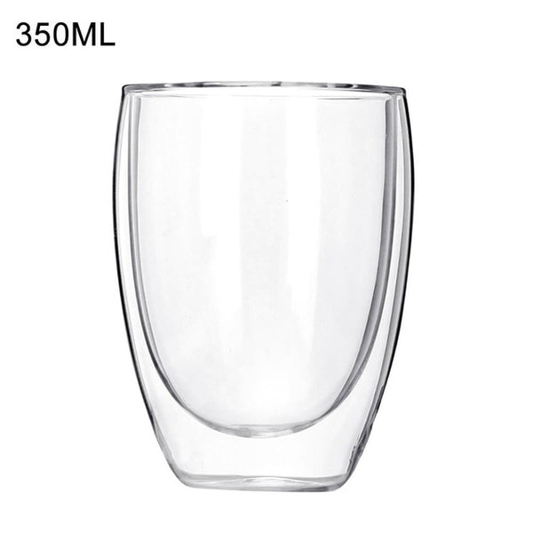 New 6Pcs 80ml 2.7oz Glass Double Walled Heat Insulated Tumbler