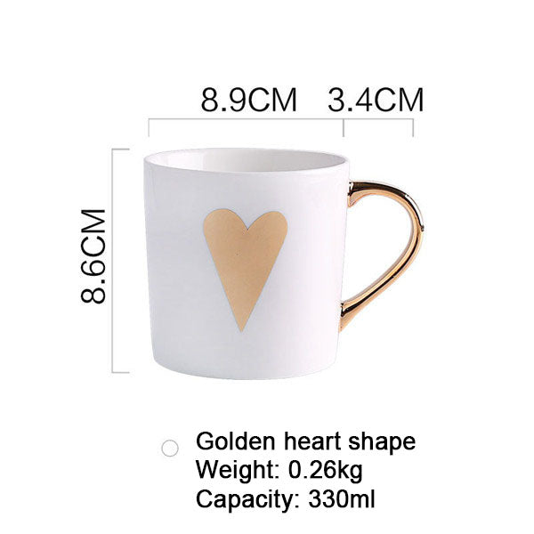 Love, Star, Stripe Pattern Gold Plated Coffee Cup.