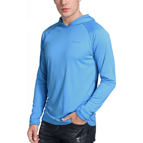 Men's UPF 50+ Sun Protection Hoodie Shirts Long Sleeve SPF Performance Fishing T-Shirt with Thumbhole