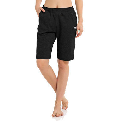 Women's Long Workout Bermuda Shorts - Yoga Athletic Running Lounge Shorts with Pockets