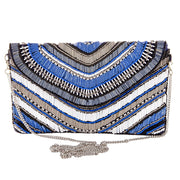 Blue and Silver Beaded Clutch