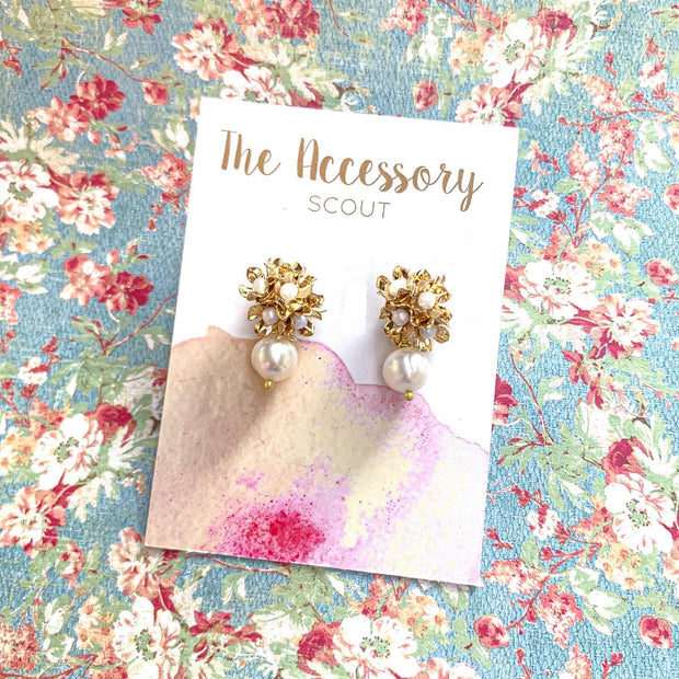 Maddie Flower Bunch Pearl Drop Earrings