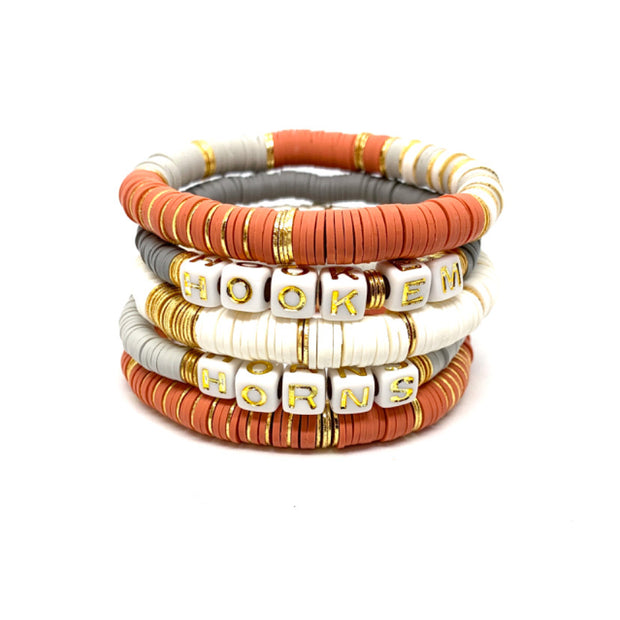 Burnt Orange & White Ibiza Bracelet Stacks
