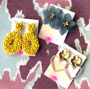 Evergreen Oversized Floral Studs