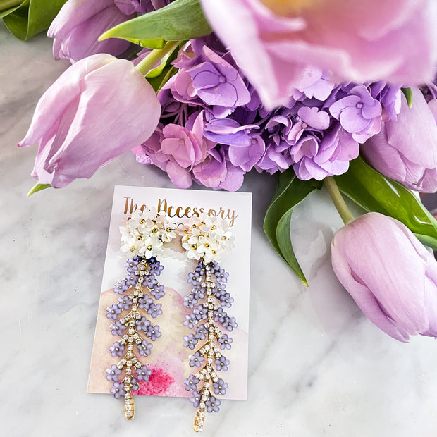Lavender Marie Earrings - Flower Top