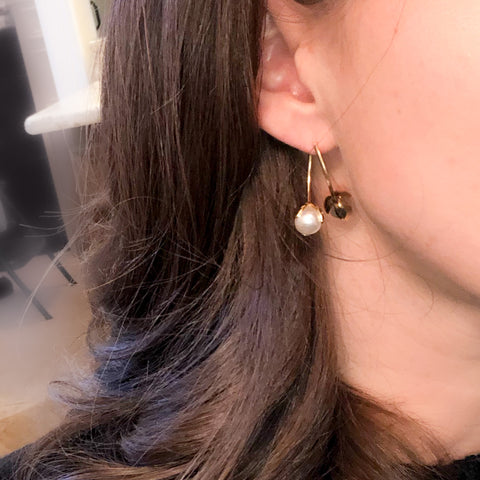 Pearl Jacket Hoop Earrings
