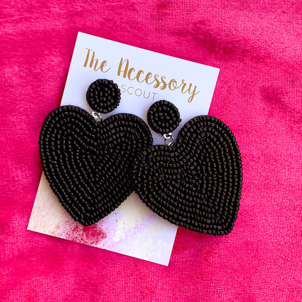 Black Beaded Heart Earrings