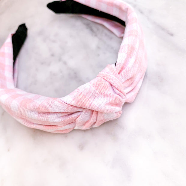 Girls' Pink Plaid Knot Headband with Scrunchie