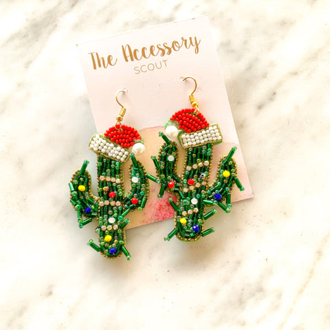 Beaded Christmas Cactus Earrings