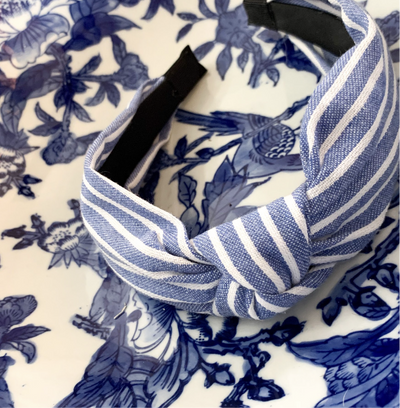 Denim & White Striped Knotted Headband