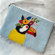 Toucan Play This Game Beaded Wristlet Clutch