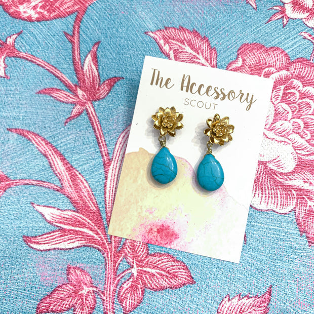 Magnolia + Turquoise Earrings