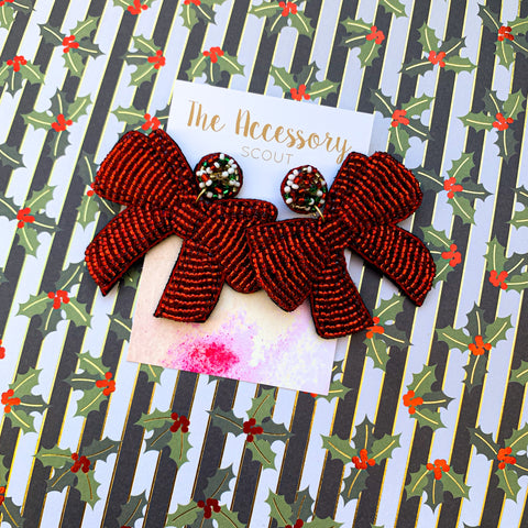 Big Red Bow Earrings