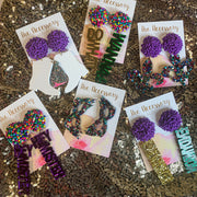Scout Celebration Mardi Gras Krewe of Muses Earrings