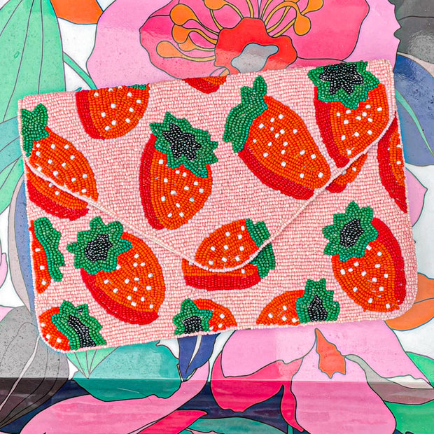 Strawberry Beaded Clutch
