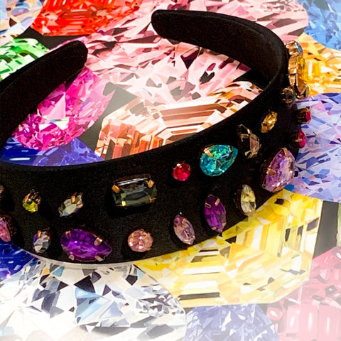 Jeweled Black Headband