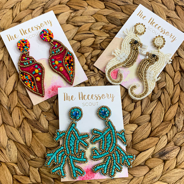 Beaded Seahorse Earrings