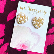 Pearly Heart Stud Earrings