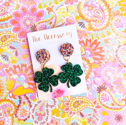 Scout Celebration Shamrock Confetti Top Earrings