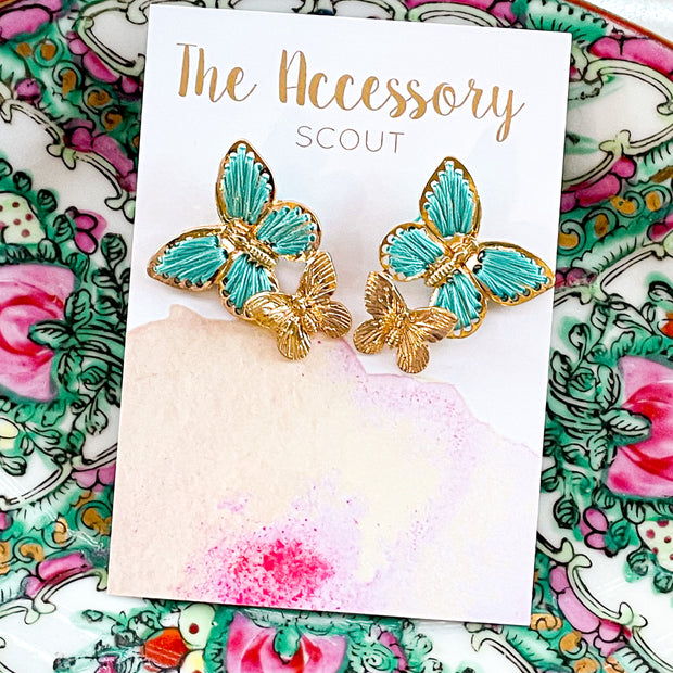 Turquoise Double Butterfly Earrings