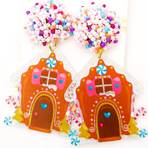 Scout Celebration Christmas Pink Gingerbread Earrings