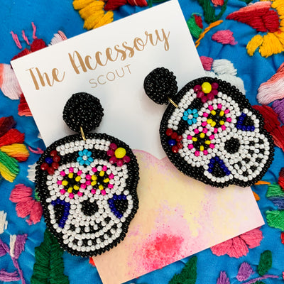 Sugar Skull Beaded Earrings