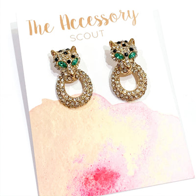 Catfight Jeweled Leopard Earrings