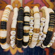 Ibiza Black, White & Gold Bracelet Stack