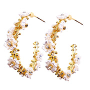 Pearly Flower Oblong Hoops
