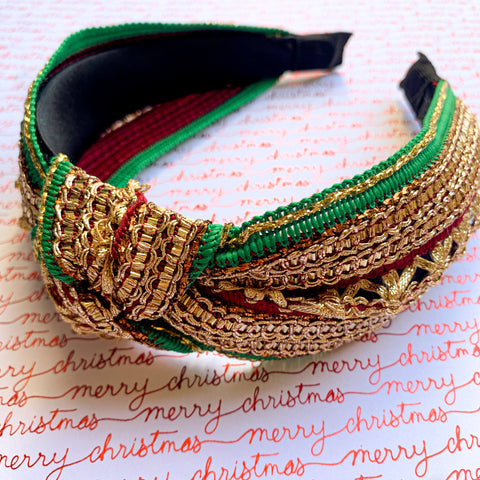 Green & Red Knotted Headband