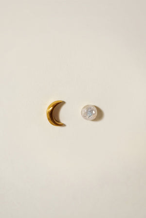 Universe Moonstone Mismatch Earrings