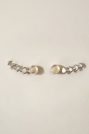 Universe Moonstone Ear Climber Earrings