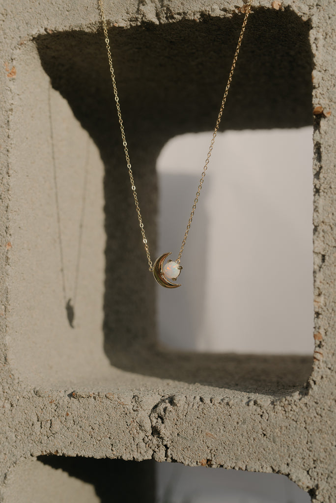 Universe Opal Moon Necklace
