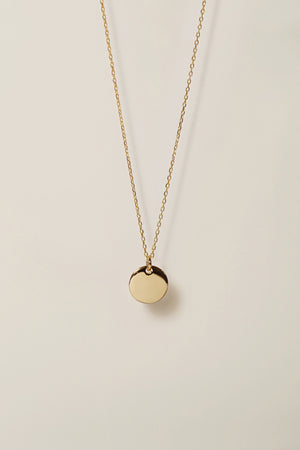 Dainty Disc Necklace With Custom Handwriting Engraving