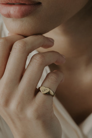 Signet Heart Ring [Personalize]