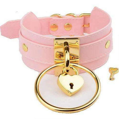 Collier Soumise rose or