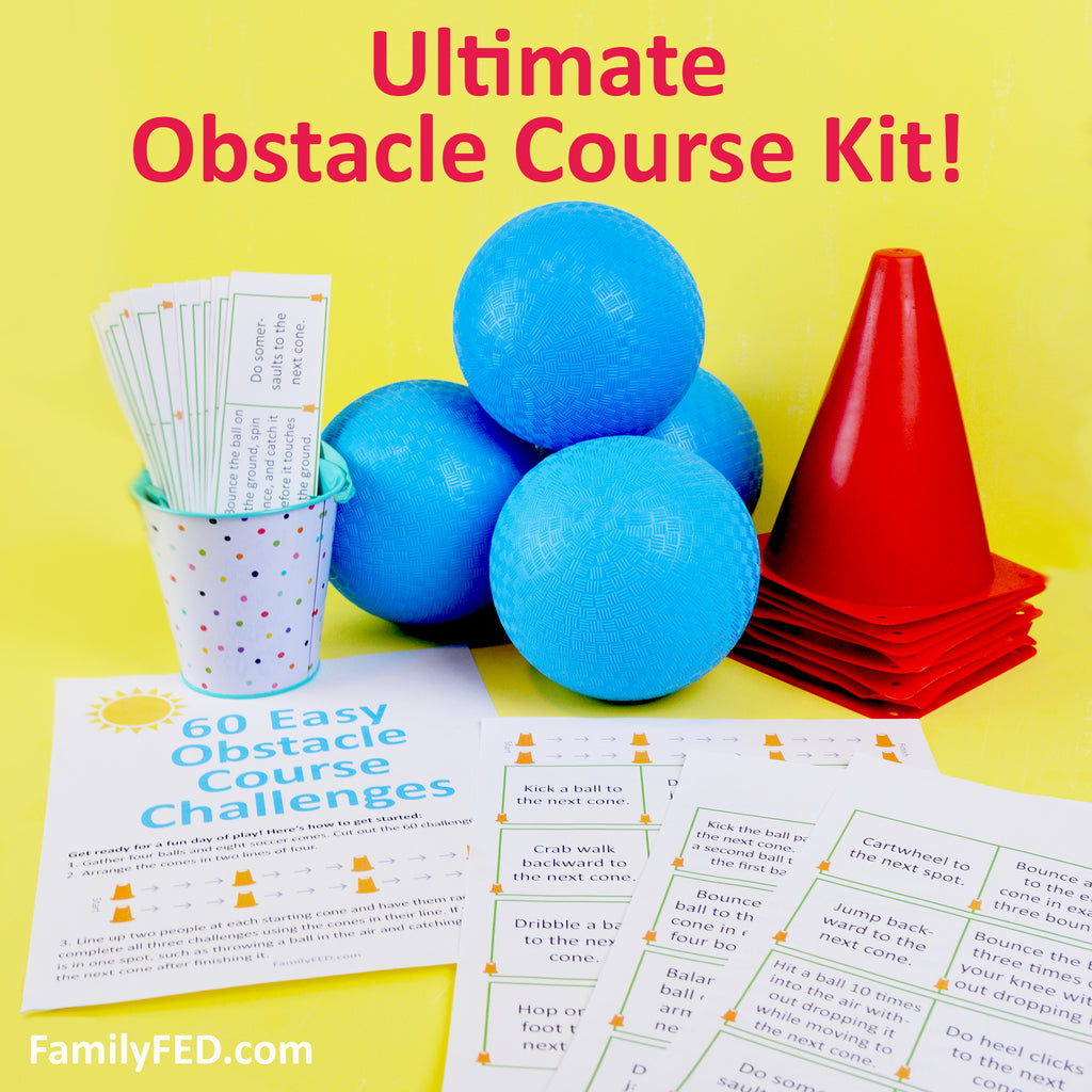 The Ultimate Obstacle Course Kit—4 Balls, 8 Cones, and 60 Printable Obstacle Course Challenges