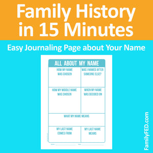 """All about My Name"" Free Printable Journaling Sheet—Family History Made Easy with ""Family History in 15 Minutes"" Journaling Prompts and Sheets"