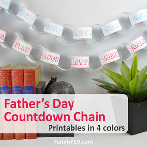 Father's Day Countdown Chain with 2 Weeks of Fun Prompts to Celebrate Dad or Grandpa