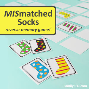 Mismatched Socks—the reverse-memory game with strategy for teens and adults!!