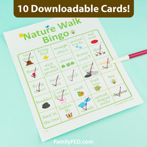 Nature Walk Bingo Game—10 Downloadable Cards for an Easy Outdoor Family Adventure and Nature Appreciation Field Trip