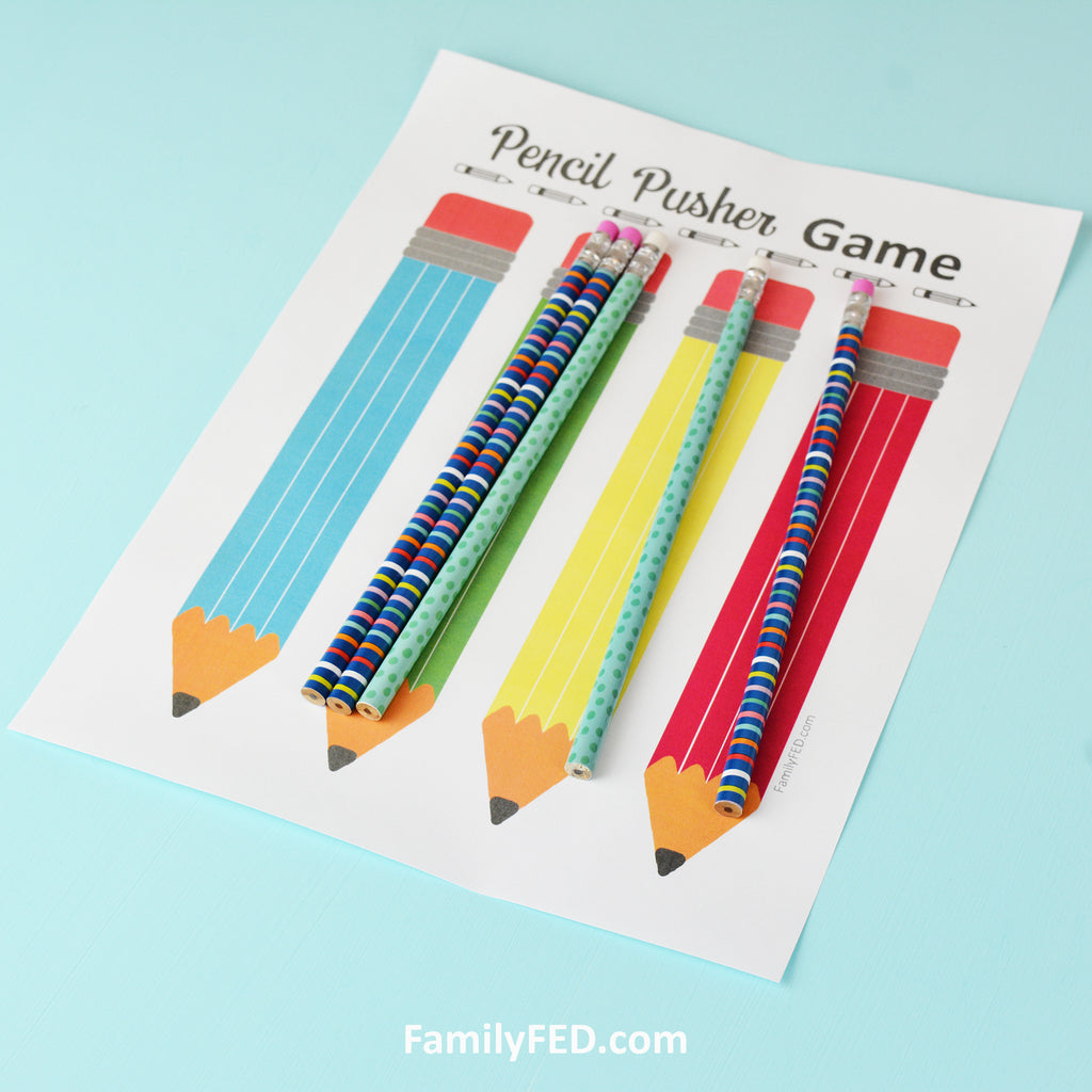 Pencil Pusher Game for Back-to-School Fun or Family Game Night