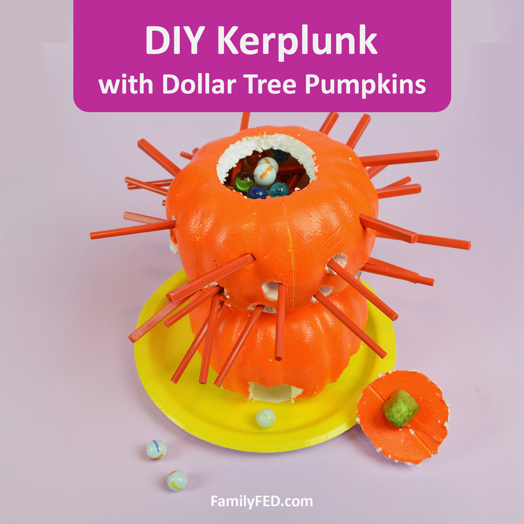 How to Make a DIY Kerplunk Marble Game with Dollar Tree Pumpkins for an Easy Halloween Party Game!