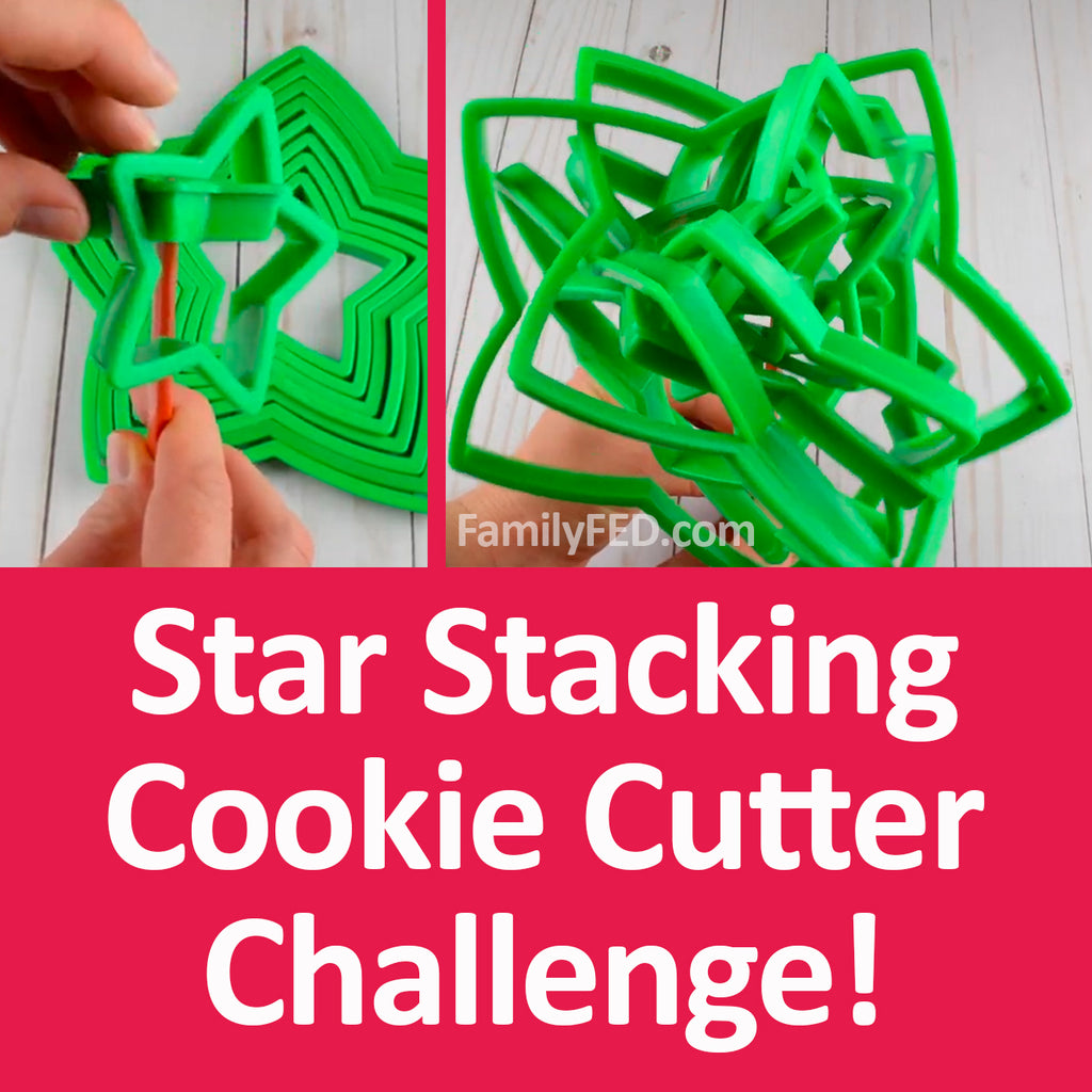 Stacking Star Cookie Cutter Challenge—Easy Christmas Party Game (with Minute to Win It Option)