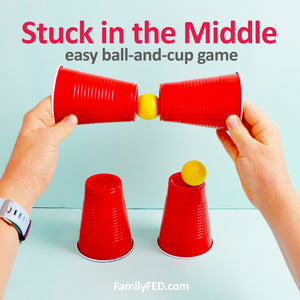 """Stuck in the Middle"" Bouncy Ball and Cup Game for Parties and Family Game Night"