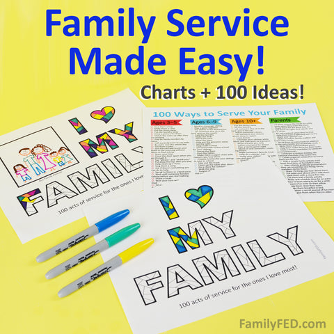100 Ways to Serve Your Family + SERVICE CHARTS! Service Ideas for Kids and Parents